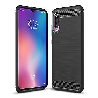 Xiaomi MI 9 TPU case carbon fiber optics brushed protective case black