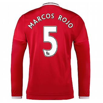2015-2016 Man Utd Long Sleeve Home Shirt (Marcos Rojo 5) - Kids