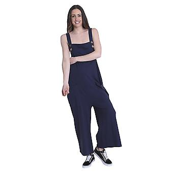 Ladies Loose Fit Cotton Jersey Dungarees - Navy Lightweight One Size Wide Leg Ov