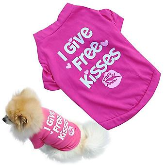 Dog Puppy Pink Tshirt I Give Free Kisses Cute Pet Clothes Dog Clothes