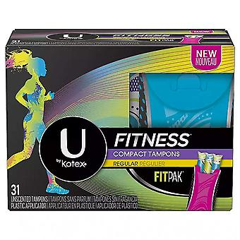 U by kotex fitness tampons with fitpak, regular, unscented, 31 ea