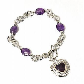 The Olivia Collection Purple Glass Bead Rope Link Heart Charm T-Bar Bracelet