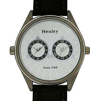 Henley Gents Brown Crocodile Effect Dual Time Watch