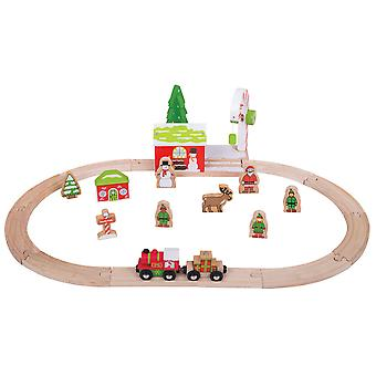 Bigjigs Rail in legno Winter Wonderland Natale treno Set stagionale Xmas