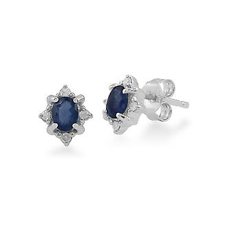 Gemondo 9ct White Gold 0.46ct Sapphire & Diamond Oval Cluster Stud Earrings
