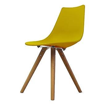 Chaise de salle à manger en plastique iconique de moutarde de fusion avec des jambes en bois clair