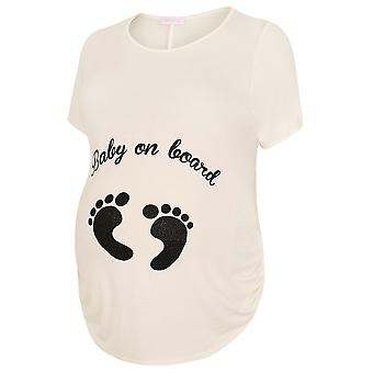 BUMP IT UP MATERNITY Cream Top With Black Glitter