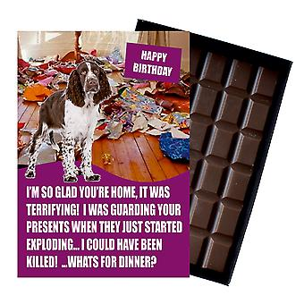 English Springer Spaniel Funny Birthday GiftsFor Dog Lover Boxed Chocolate Greeting Card Present
