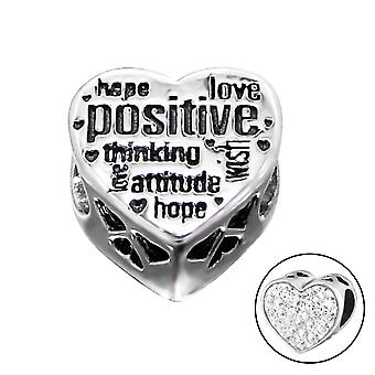 Heart Positive - 925 Sterling Silver Jewelled Beads - W10516X
