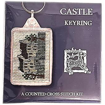 Textile Heritage Counted Cross Stitch Keyring - Castle