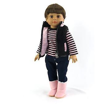 18「人形服 3 ピースのピンクと黒のハート柄セット