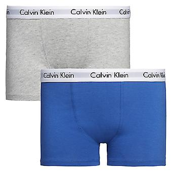Calvin Klein Boys 2 Pack Modern Cotton Boxer Trunk, Blue / Grey, Age 12-14
