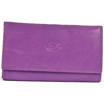 Ladies Soft Real Nappa Leather Long Flap-over Purse (Lilac)