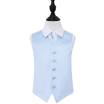 Boy's Baby Blue Plain Satin Wedding Waistcoat & Tie Set