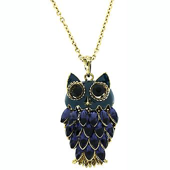 Montana Blue Crystal Owl Pendant Necklace