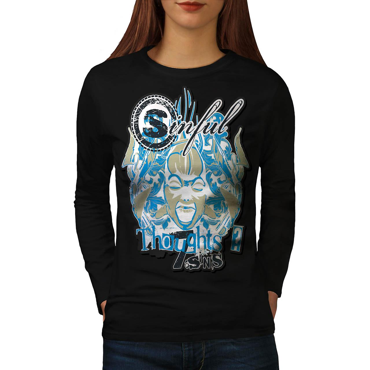 Sin City Thought Hell Crazy Mind Women Black Long Sleeve T-shirt | Wellcoda