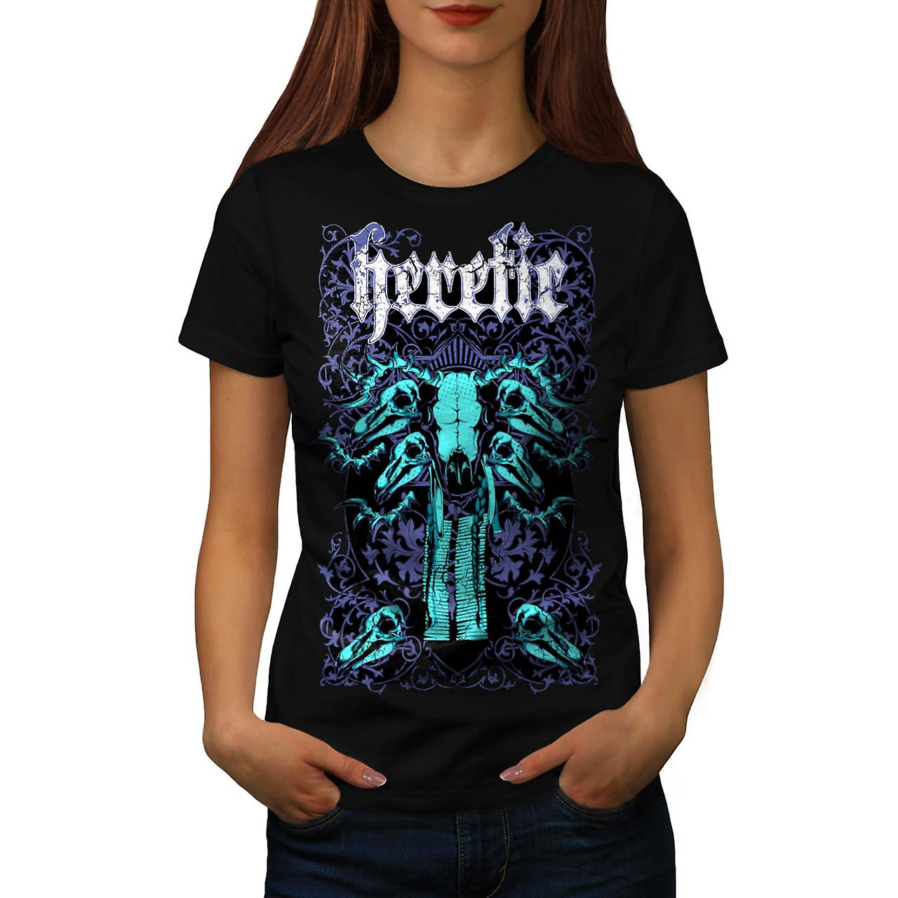 Heretic Badass Art Skull Women Black T-shirt | Wellcoda