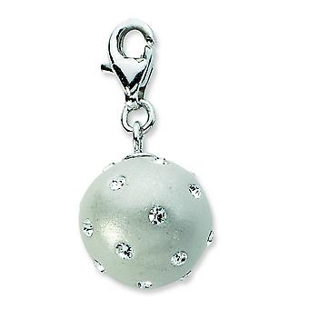 Sterling Silver Click-on White Ferido and Crystal Ball Charm - Measures 24x12mm