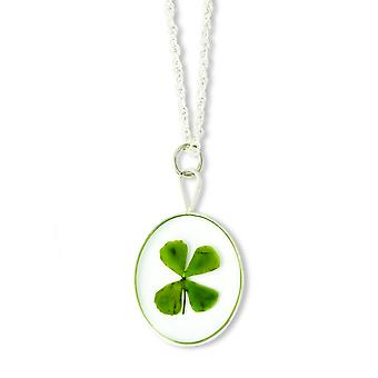Sterling Silver Trim Four Leaf Clover Oval With Silver-plated Chain Necklace - 20 Inch