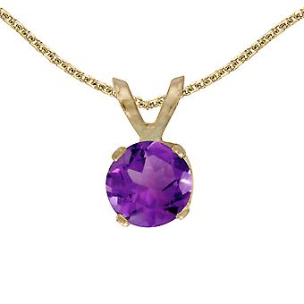 14k Yellow Gold Round Amethyst Pendant with 18