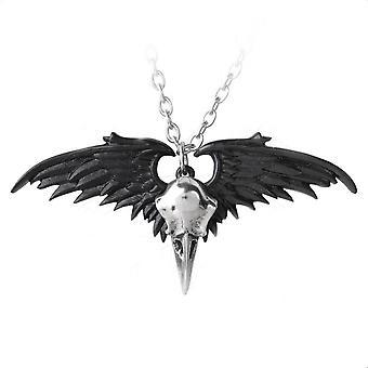 Alchemy Gothic Ravenger Black / Silver Winged Raven Skull Pendant