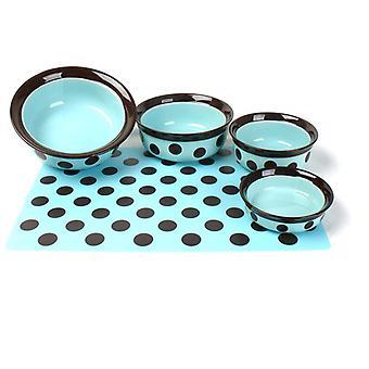 Spot de grès Pet Dish Teal/brun 8