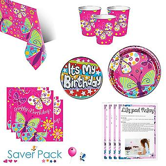 Butterfly Sparkle Party Tableware Saver Pack