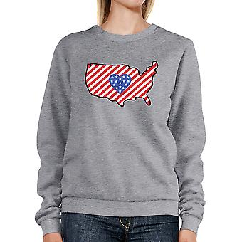 Heart USA Map With American Flag Unisex Gray Pullover Sweatshirt