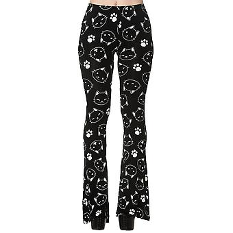 Banned - PURRRFECT KITTY FLARE  - Cat Print Stretch Leggings