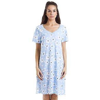 Camille White Floral Print Light Blue Cotton Nightdress