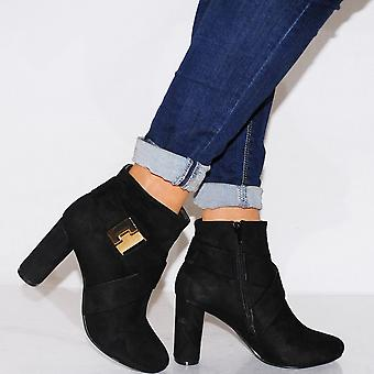 Koi Couture Ladies Kd17 Black Buckle Ankle Boots