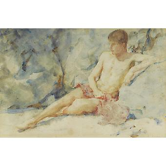 Henry Scott Tuke - Boy against rock Poster Print Giclee