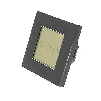 Yo LumoS negro aluminio cepillado 3 cuadrilla 1 manera táctil LED luz interruptor oro inserto