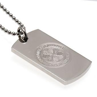 Celtic Engraved Crest Dog Tag & Chain