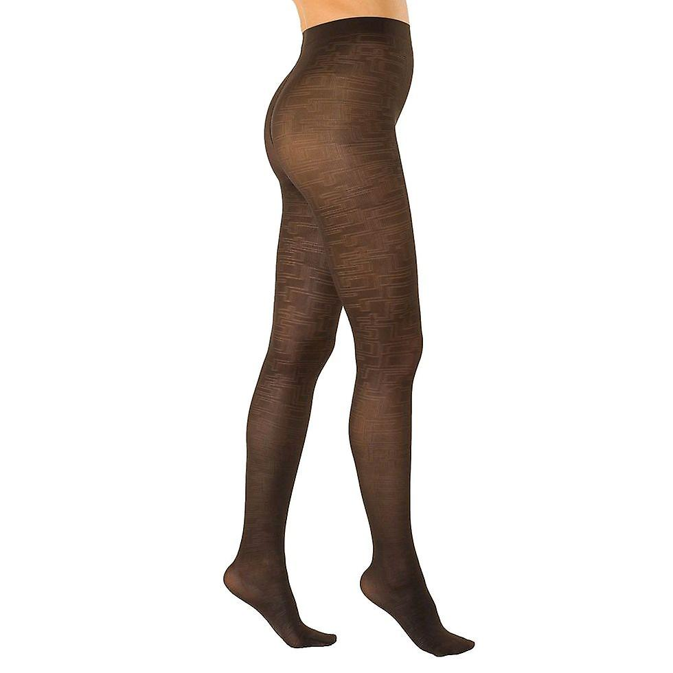 Solidea Labyrinth 70 Patterned Support Tights [Style 40070] Moka (Dark Brown)  M