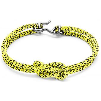 Anchor and Crew Foyle Silver and Rope Bracelet - Yellow Noir