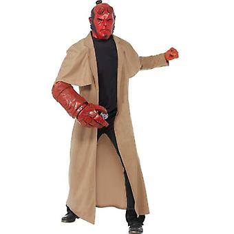Smiffys Hellboy Costume Brown With Coat Mask Arm Piece & Belt Buckle (Kostuums)
