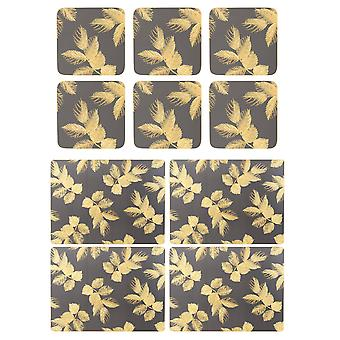 Sara Miller Etched Leaves Dark Grey Placemats and Coasters Set
