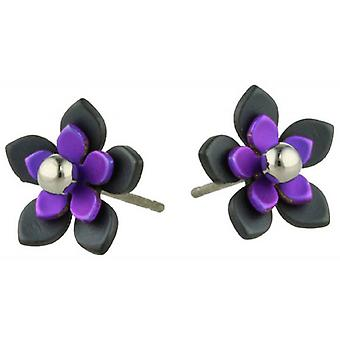 Ti2 Titanium Black Back Five Petal Flower Stud Earrings - Imperial Purple