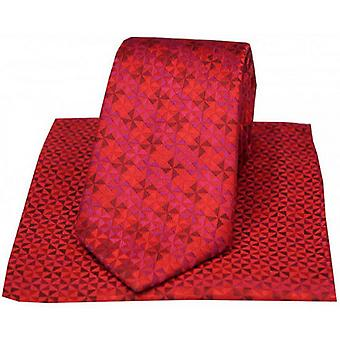 David Van Hagen Windmill Design Tie and Handkerchief Set - Red