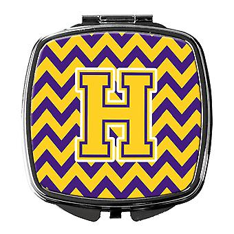 Carolines Treasures  CJ1041-HSCM Letter H Chevron Purple and Gold Compact Mirror