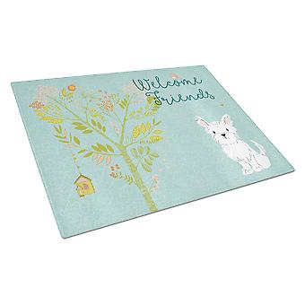 Carolines Treasures  BB7640LCB Welcome Friends Westie Glass Cutting Board Large