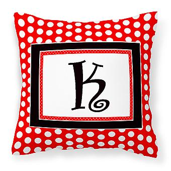 Letter K Initial Monogram Red Black Polka Dots Decorative Canvas Fabric Pillow