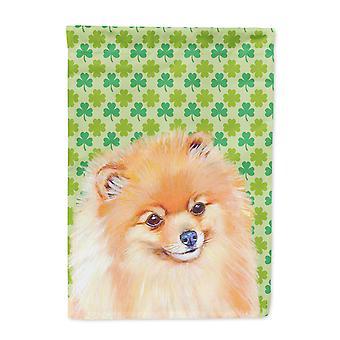 Carolines Treasures  LH9215-FLAG-PARENT Pomeranian St. Patrick's Day Shamrock Po