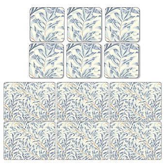 Dværg Willow grene blå dækkeservietter og Coasters sæt