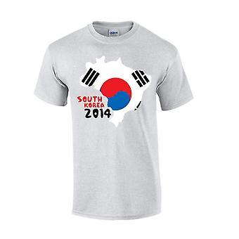 Sydkorea 2014 land flagga T-shirt (grå)