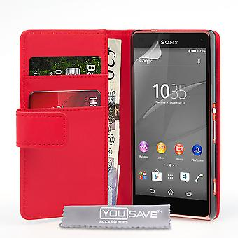 Sony Xperia Z4 Compact Leather-Effect Wallet Case - Red
