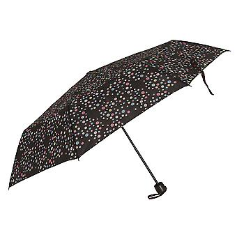 Womens/Ladies Wind Resistant Polka Dot Compact Close Umbrella