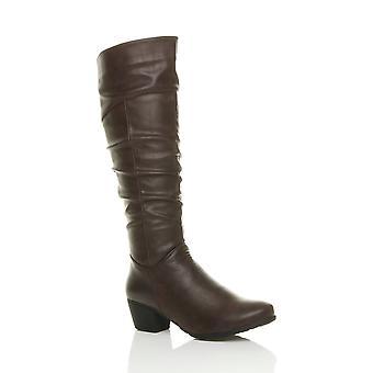 Ajvani womens cuban mid heel zip ruched slim calf cowboy riding knee boots