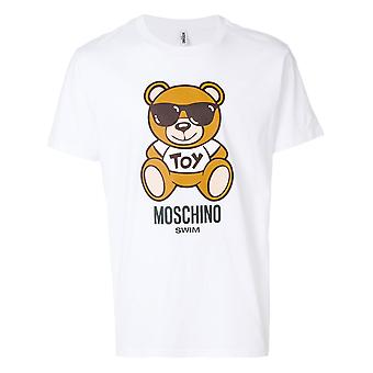 Moschino swim men's A191523040001 white cotton T-Shirt